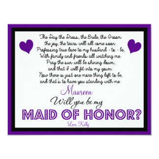 Will you be my Maid of Honor? Card Personalized Invites