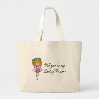 Will You Be My Maid Of Honor? (Girl) Large Tote Bag