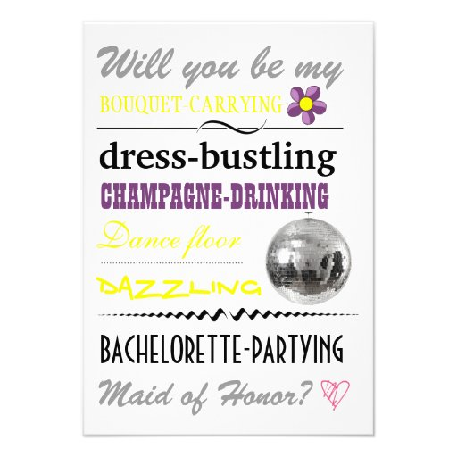 """Will you be my Maid of Honor?"" Personalized Invitations"