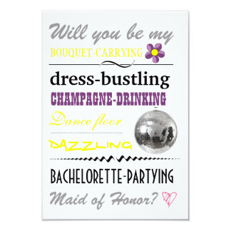 """""""Will you be my Maid of Honor?"""" Personalized Invitations"""