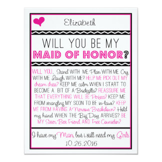 Will you be my Maid of Honor? Pink/Black Collage 11 Cm X 14 Cm Invitation Card
