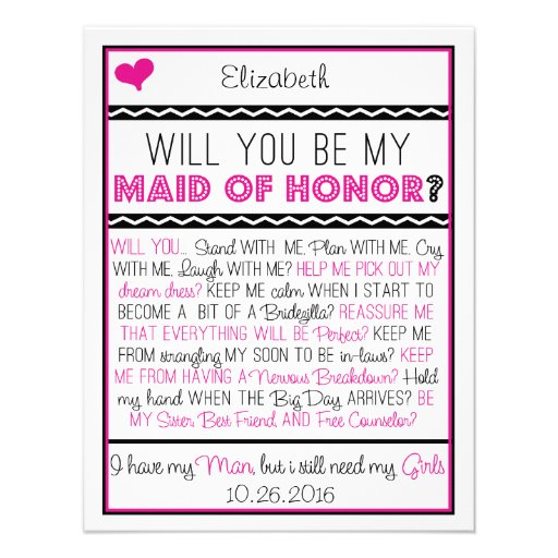 Will you be my Maid of Honor? Pink/Black Collage Invitation