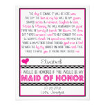 Will you be my Maid of Honor? Pink/Black Poem V2 Invitations