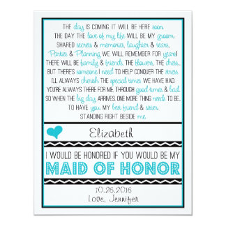 Will you be my Maid of Honor? Turquoise/Black Poem 11 Cm X 14 Cm Invitation Card
