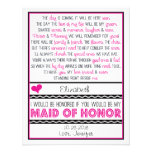 Will you be my Maid of Honour? Pink/Black Poem Custom Invites