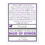 Will you be my Maid of Honour? Purple/Black Poem Personalised Invites