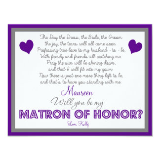 Will you be my Matron of Honor? Card Custom Invite