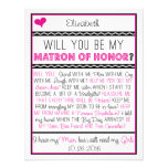 Will you be my Matron of Honour? Pink/Black Personalized Invitations