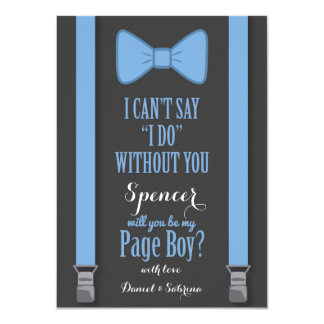 Will You Be My Page Boy - Blue Tie Braces Card