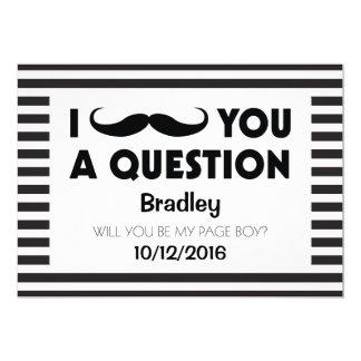 Will You Be My Page Boy Moustache Black Stripes 13 Cm X 18 Cm Invitation Card