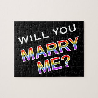 """""""WILL YOU MARRY ME?"""" Gay/Lesbian Marriage Proposal Jigsaw Puzzle"""