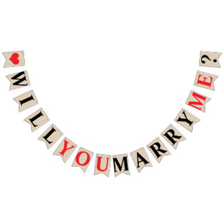 WILL YOU MARRY ME? MARRIAGE PROPOSAL - Khaki Color Bunting