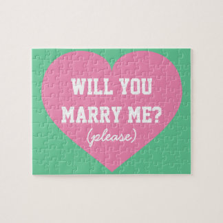 Will you Marry Me? pink heart Jigsaw Puzzle