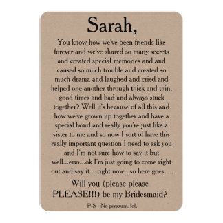 Will you please be my bridesmaid? Custom text card 13 Cm X 18 Cm Invitation Card