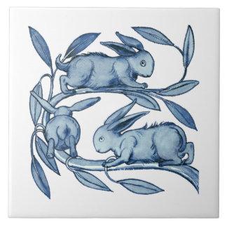 William De Morgan Rabbits Ceramics Large Square Tile