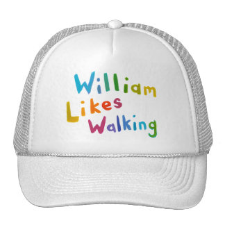 William Likes Walking fun word art for Bill Cap