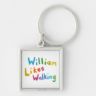William Likes Walking fun word art for Bill Silver-Colored Square Key Ring