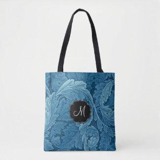William Morris Acanthus with Monogram Tote Bag