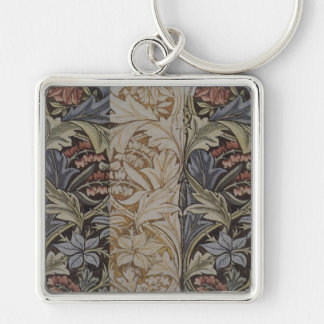 William Morris Bluebell Fabric Botanical Print Silver-Colored Square Key Ring