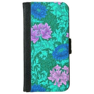 William Morris Chrysanthemums, Aqua and Violet iPhone 6 Wallet Case