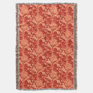 William Morris Damask, Deep Orange Throw Blanket
