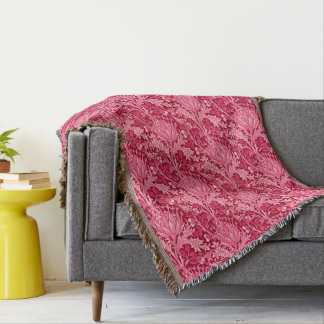 William Morris Damask, Fuchsia Pink Throw Blanket