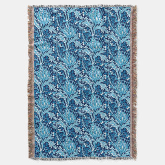 William Morris Damask, Navy & White Throw Blanket