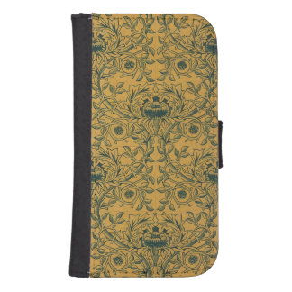 William Morris Floral Pattern Amber Green colors Samsung S4 Wallet Case