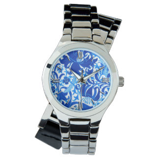 William Morris Iris and Lily, Cobalt Blue Watch