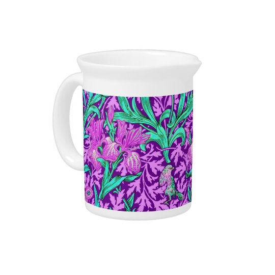 William Morris Irises, Amethyst Purple Drink Pitchers