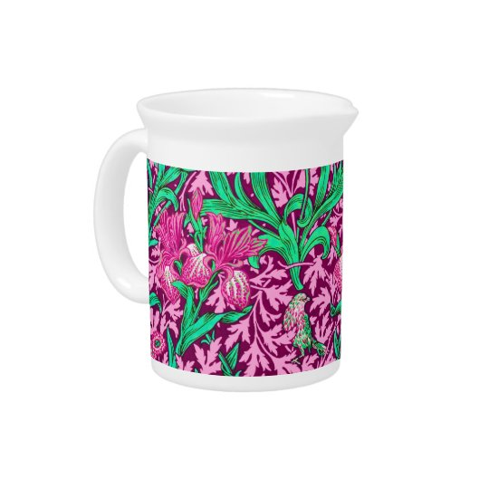 William Morris Irises, Fuchsia Pink and Wine Beverage Pitchers