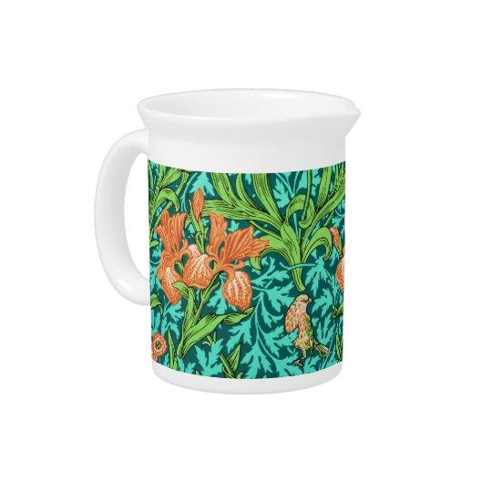 William Morris Irises, Orange and Turquoise Pitcher