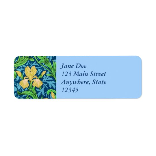 William Morris Irises, Yellow and Cobalt Blue