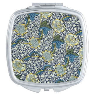 William Morris Kennet Pattern (Blue) Mirror For Makeup