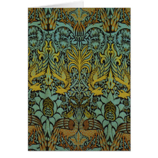 William Morris Peacock and Dragon Tapestry Card
