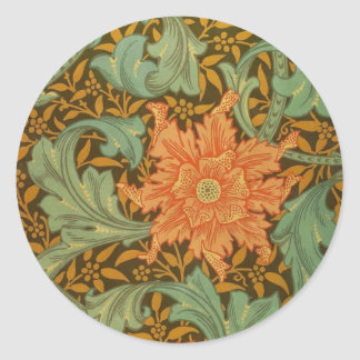 William Morris Single Stem Pattern Art Nouveau Round Sticker