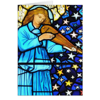 William Morris stained glass angel design Card
