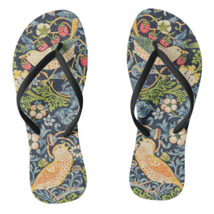 William Morris Strawberry Thief Floral Pattern Jandals