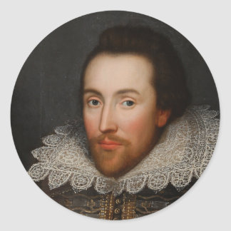 William Shakespeare Cobbe Portrait  circa 1610 Classic Round Sticker