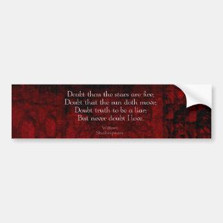 William Shakespeare Famous Love Quote Bumper Sticker
