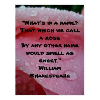 William Shakespeare Rose Quote Pink Postcard