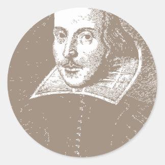 William Shakespeare Warm Gray Classic Round Sticker