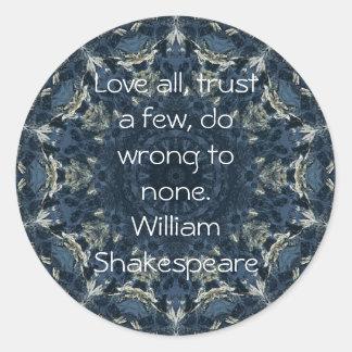William Shakespeare Wisdom Quotation Saying Classic Round Sticker
