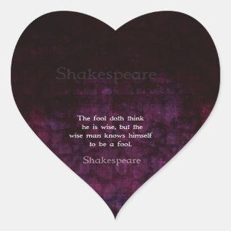 William Shakespeare Wisdom Quotation Saying Heart Sticker