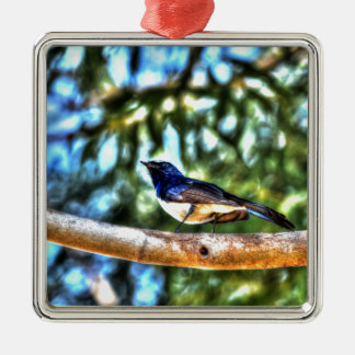 WILLIE WAGTAIL AUSTRALIA WITH ART EFFECTS Silver-Colored SQUARE DECORATION
