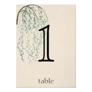 Willow Branch on Linen Anniversary Table Number Card