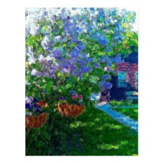 willow lake lilac trees postcard