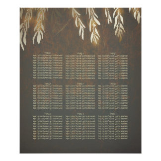 Willow Tree Gold Wedding Seating Chart Poster