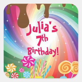 Willy Wonka Candyland Birthday Stickers