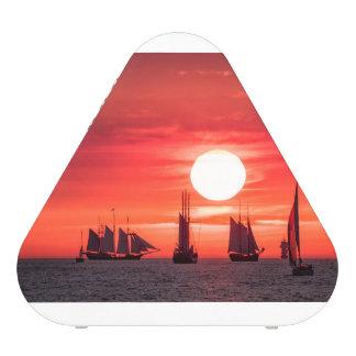 Windjammer in sunset light on the Baltic Sea